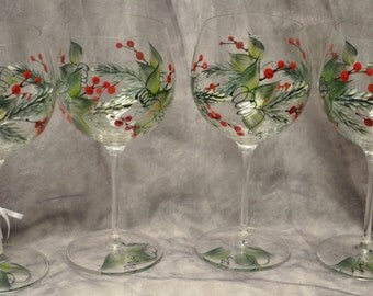 Hand Painted, Pine & Berries/Holly and Berries wine glasses, set of 4