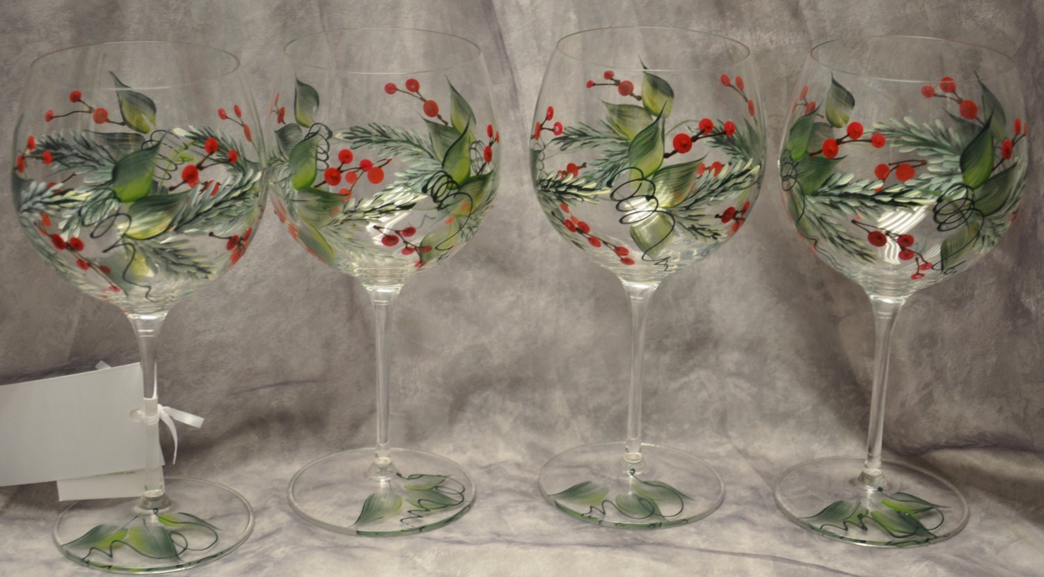Hand painted pine berries holly and berries wine glasses for Christmas glass painting designs