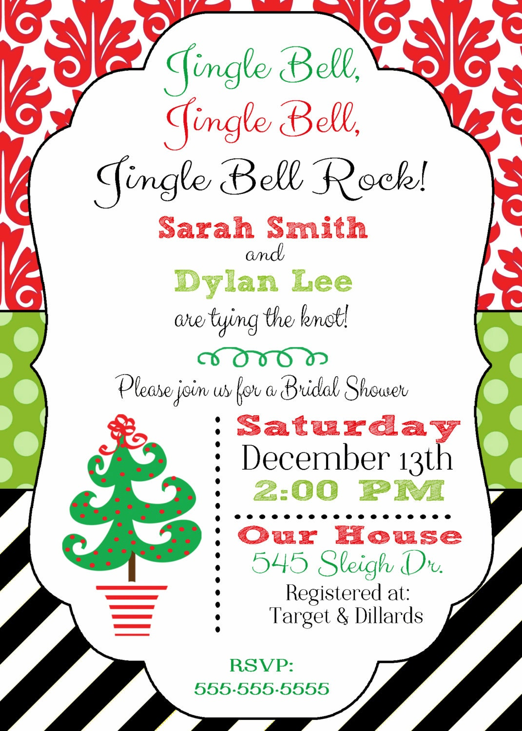 christmas bridal shower invitation christmas wedding by. Black Bedroom Furniture Sets. Home Design Ideas