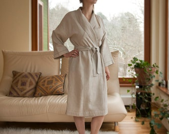 Classical Pure Linen Robe for Women