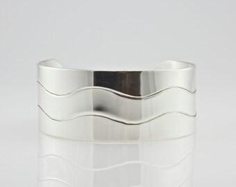 Cuff Bracelet - Sterling Silver Cuff Bracelet - Modern Bracelet - Unisex Cuff Bracelet - Large Wide Cuff Bracelet - Made to Order