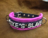 Leather slave collar custom made w/ any name/word many colors to choose