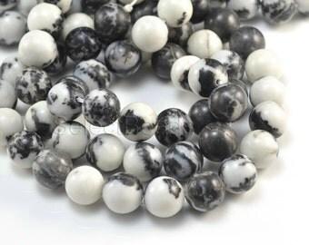 black and white zebra jasper beads - jasper gemstone beads - round gemstone beads - black and white beads - 4-14mm round beads -15 inch