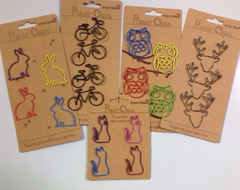 Perfect Paperclips/Bookmarks in the style of Bicycle , Rabbit, Cat, Owl, Fox and Stags. Gift, home, stationery. Reindeer Bike