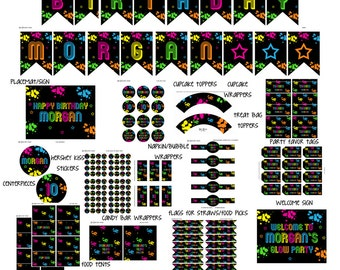 NEON/Glow Party printables pack