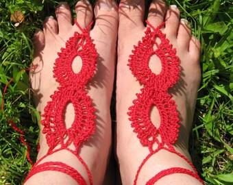 Double Eyelet Crochet Bare Foot Sandals