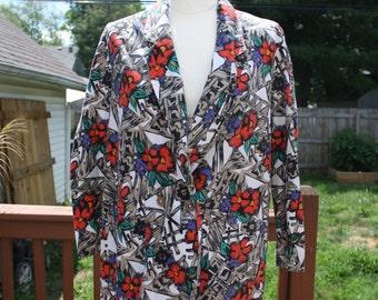 Vintage Floral print boyfriend blazer