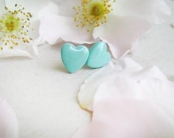 Stud earrings mint heart. Earrings stud heart. Handmade Ear studs.