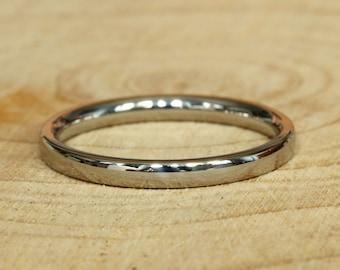2mm Wide Comfort Fit / Court Shape Titanium Plain band Wedding Ring