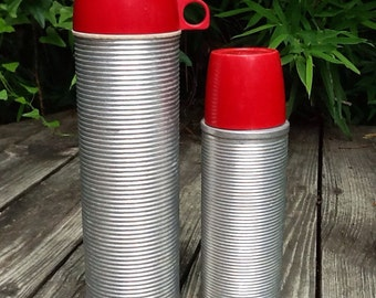 Matching Pair of Thermos Brand Red Thermoses