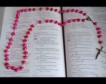 Hot Pink- Glass Bead Rosary/ Necklace (2014-16)