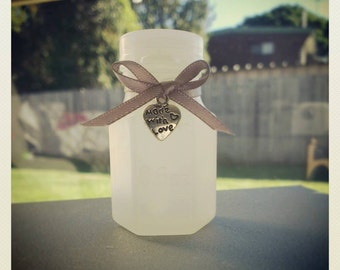 40 Wedding Bubble Bottles with Silver Ribbon and Silver made with love Charm