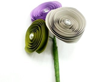Paper Flower Boutonniere -Wedding Boutonniere - Groom- Purple Wedding - Prom Night - Wedding Paper Flowers - Father of the Bride