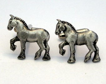 Shire Horse Cufflinks in Fine English Pewter, Handmade, Gift Boxed (h)