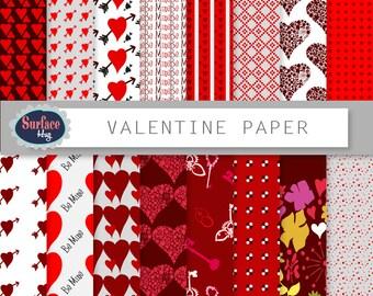 Valentine Digital paper VALENTINE PAPER background. Red digital paper, Heart digital paper, Red romantic paper, floral digital paper