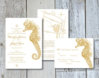 Gold Seahorse Wedding Invitations