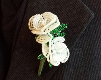 Beaded Flower Pin