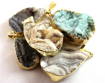 Assorted Gold Electroformed Agate Druzy Drop Pendants (1x) - N054