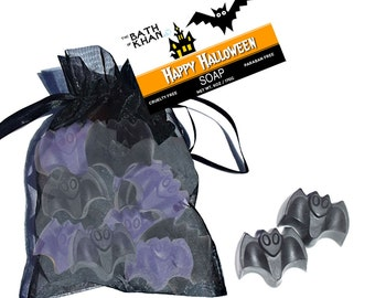 Bat Soap - Halloween Soap, Halloween Gift, Halloween Decor, Halloween Guest Soap, Non Candy Treat, Teacher Gift for Kids - 12 Pc Set