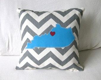 Kentucky Pillow Cover with Heart - Chevron Custom Colors