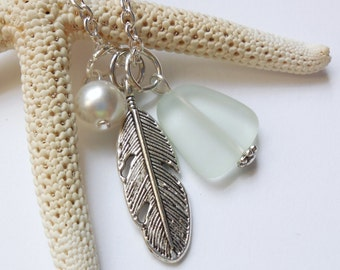 Seafoam Green Sea Glass Necklace, Beach Glass Necklace, Sea Glass Jewelry, Beach Glass Jewelery, Feather Charm Necklace, Free Shipping in US