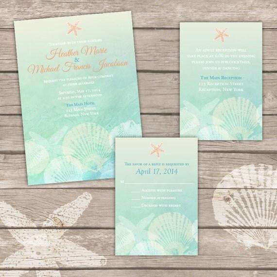 Printable Beach Wedding Invitation Bundle