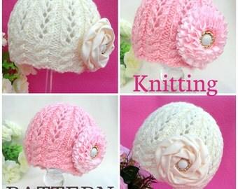 Knitting PATTERN Baby Beanie Knit Pattern Baby Hat Baby Girl Cap Knitted Girl Pattern Newborn Hat Infant Bonnet PATTERN Only PDF File