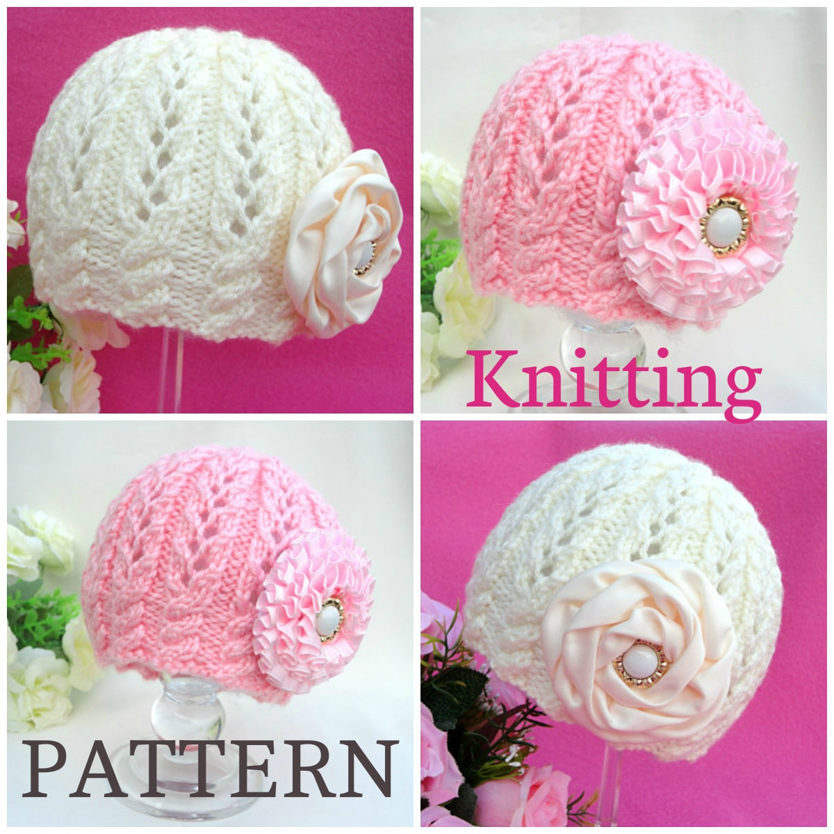 Toddler Beanie Knitting Pattern : Knitting PATTERN Baby Beanie Knit Pattern Baby Hat Baby Girl