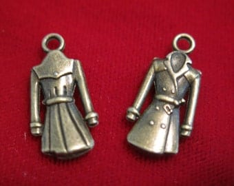 """8pc """"coat"""" charms in antique bronze style (BC146)"""