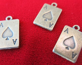 "10pc ""poker card - ace"" charms in antique bronze style (BC223)"