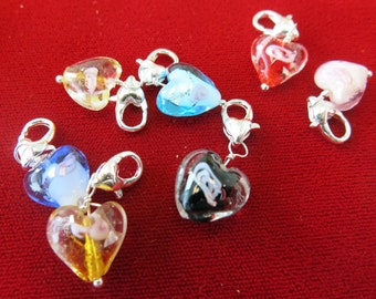 """5pc clip-on """"murano glass heart"""" charms in antique silver style (BC188)"""