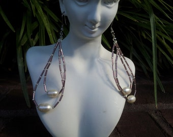 Handmade fresh water pearl earrings with silver lined beads #00E5