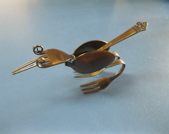 "Roadrunner ""BEEP-BEEP""  handcrafted utensil metal welded sculpture"