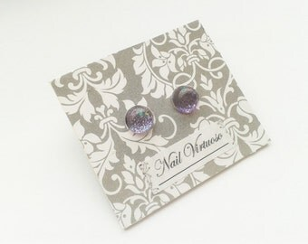 Purple Glitter Earring Studs - Nail Polish Earrings - 10mm Cabachons - Lead and Nickel Free - Silver Plated Brass Earrings
