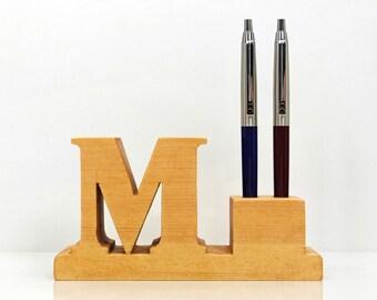 Pen Holder. Personalized wooden desk pen holder with letter (initial) M for 2 pens