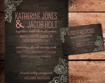 Rustic Wood Wedding Invitation and RSVP Set (printable)- available in any color