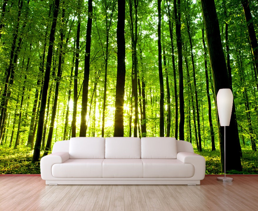 Stick On Wall Murals green forest trees mural wallpaper reposition able peel &