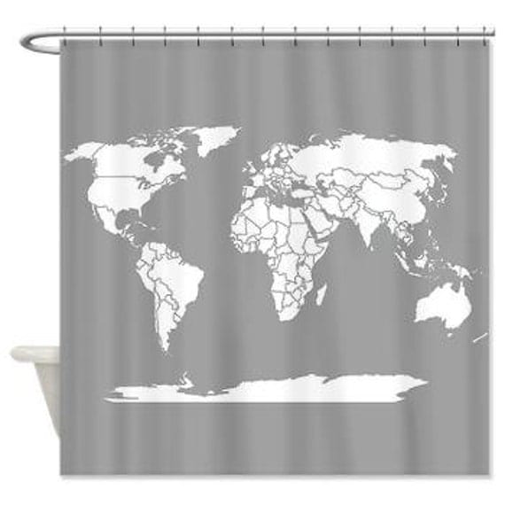 World map shower curtain on world map shower curtain white fabric