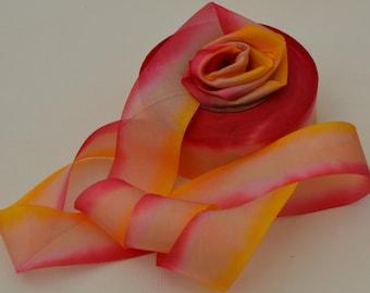 """3 yds Hanah Bias-cut Silk Ribbon, 1"""" wide - Peace"""