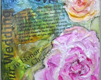 Wedding Peace Roses mixed media in 3-D on gallery wrapped canvas