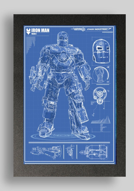 Iron man mark 1 suit blueprints 16x24 by ryanhuddle on etsy for Plan d iron man