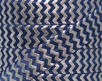 Navy Blue & Silver Foil Metallic Chevron Fold Over Elastic - Elastic for Baby Headbands and Hair Ties - 5 Yards 5/8 inch Printed FOE
