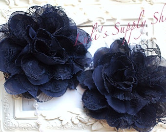 "Set of 2 - Navy Blue 3.75"" Fabric flowers - Lace Flowers -Chiffon lace flower - chiffon flower - lace rose - Wholesale DIY Supplies"