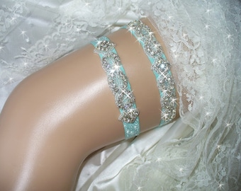 Wedding Lingerie, Something Blue Wedding Garter Set, Aqua Garter, Rhinestone Wedding Garter Belt, Bridal, Queen Available, Other Colors