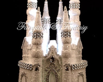 Cinderella Castle Fairytale Wedding Cake Topper or Sweet 16 or 15 - LIGHTED