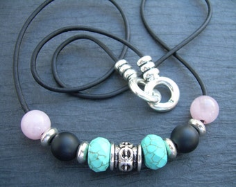 Womens Rose Quartz and Turquoise Howlite Leather Necklace, Gemstones, Womens Necklace, Womens Jewelry, Leather Necklace,Womens Gift, For Her