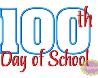 100th Day of School Machine Embroidery Applique Design