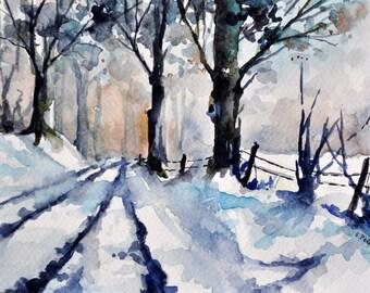 ORIGINAL Watercolor Landscape Painting 6x8 Inch, Winter Landscape, Winter trees
