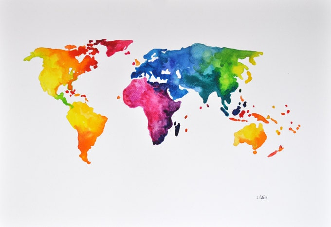 original abstract world map watercolor painting colorful. Black Bedroom Furniture Sets. Home Design Ideas