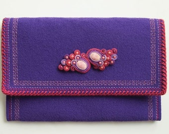 Royal Purple - Elegant Felt Clutch with Soutache